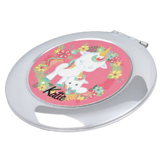 Cute Unicorns and Floral Personalized
