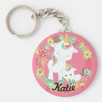 Cute Unicorns and Floral Personalized キーホルダー