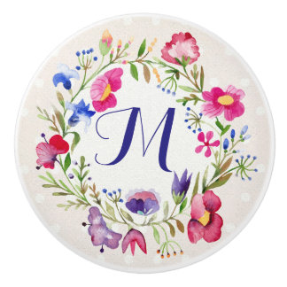 Cute Watercolor Flowers Floral Fine Monogram