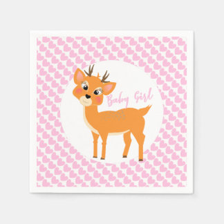 Cute Whimsy Deer On Pink Love Hearts Baby Shower スタンダードカクテルナプキン