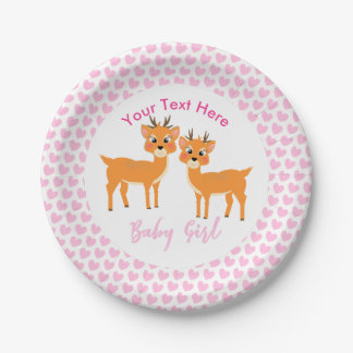 Cute Whimsy Deer On Pink Love Hearts Baby Shower ペーパープレート
