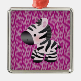 cute_zebra_pink_animal_print_ メタルオーナメント