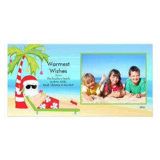 CuteTropicalのクリスマスのサンタの家族写真カード カード