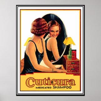 Cuticureはシャンプーのヴィンテージポスターを薬で治療しました ポスター