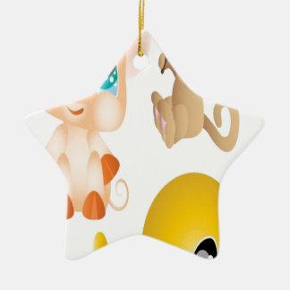 Cuttie動物のデザイン 陶器製星型オーナメント