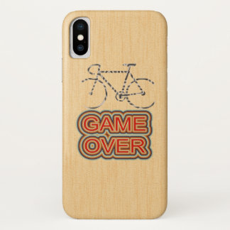 Cycling Game Over. Wood Background iPhone X ケース