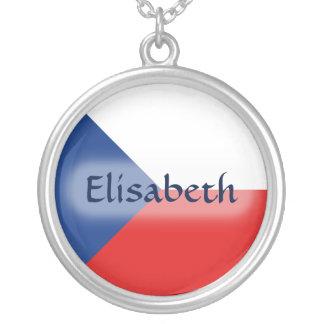 Czechiaの旗 + 一流のネックレス シルバープレートネックレス