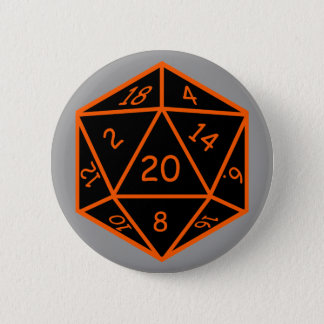 D20黒及びオレンジ 缶バッジ