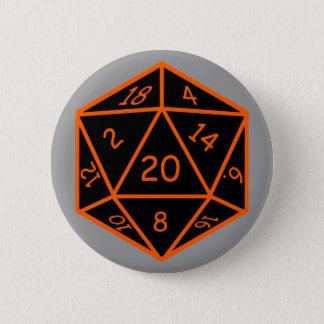 D20黒及びオレンジ 5.7CM 丸型バッジ