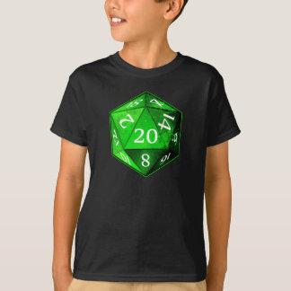D&D d20は緑および白いエメラルド死にます Tシャツ
