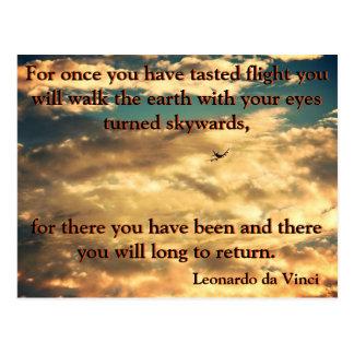Da Vinciのジェット機の飛行機 ポストカード