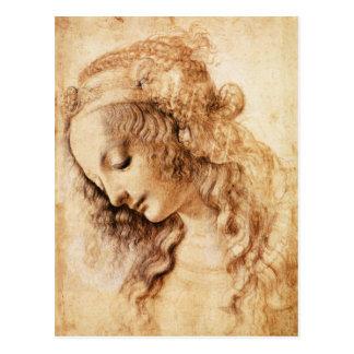 Da Vinciの女性のヘッド郵便はがき ポストカード