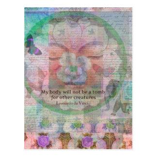 Da Vinciの菜食主義の引用文 ポストカード