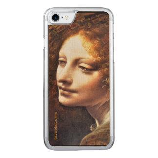 Da VinciのMahj天使の木製の穀物の電話箱 Carved iPhone 8/7 ケース
