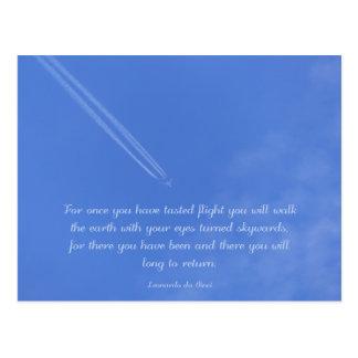 Da Vinci感動的な飛行引用文 ポストカード