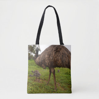 Daddy_And_Baby_Emus_Full_Print_Shopping_Bag. トートバッグ