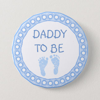 Daddy to be Blue Boy Baby Shower button 7.6cm 丸型バッジ