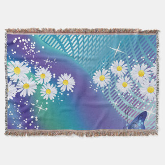 Daisy flowers-on Blue background Throw Blanket スローブランケット