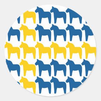 Dalaの馬のスウェーデンの旗 ラウンドシール