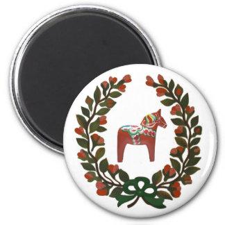 Dalaの馬のリースのスウェーデン人のクリスマス マグネット