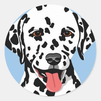 Dalmatian犬のステッカー ラウンドシール