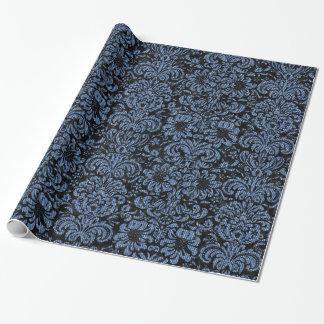 DAMASK2黒い大理石及び青いデニム ラッピングペーパー