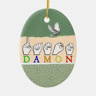 DAMON FINGERSPELLED NAMESIGN ASL 陶器製卵型オーナメント