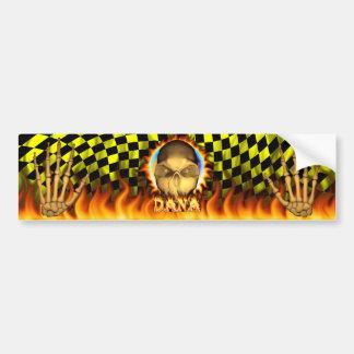 Danaのスカルの実質火および炎のバンパーステッカー バンパーステッカー