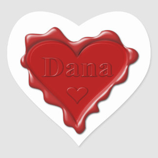 Dana。 一流のDanaが付いている赤いハートのワックスのシール ハートシール