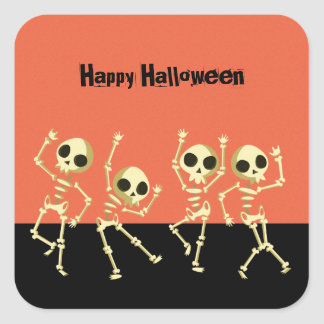 Dancing Skeletons Halloween スクエアシール