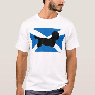 dandieのdinmontテリアのシルエットの旗 tシャツ