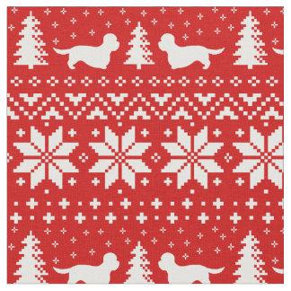 Dandie Dinmontテリアのクリスマスパターン赤 ファブリック