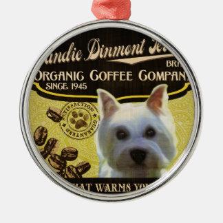 Dandie Dinmontテリアのブランド-オーガニックなコーヒーComp メタルオーナメント