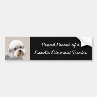 Dandie Dinmontテリアの絵画元の犬の芸術 バンパーステッカー