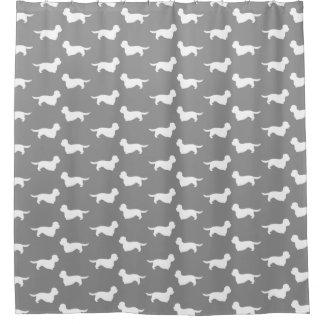 Dandie Dinmontテリアパターン灰色 シャワーカーテン