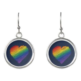 dangly虹の走り書きのハートのイヤリング イヤリング