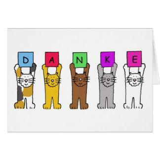 Dankeのドイツ語の「感謝」を言っている猫 グリーティングカード