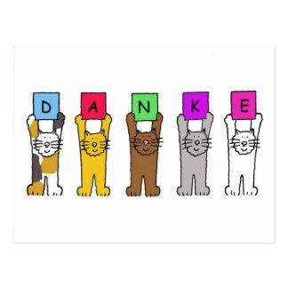 Dankeのドイツ語の「感謝」を言っている猫 ポストカード