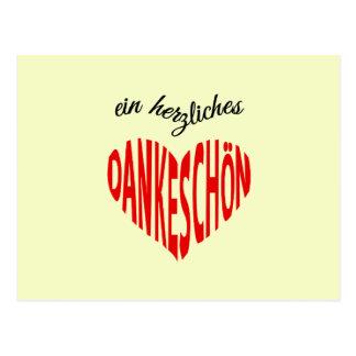 Dankeschonの赤いハートは感謝していしています ポストカード