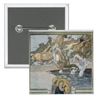 Danteの「神のComedyからのイラストレーション 5.1cm 正方形バッジ