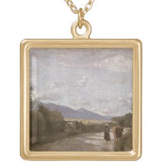 Dardagny、朝、c.1853 (キャンバスの油) ゴールドプレートネックレス