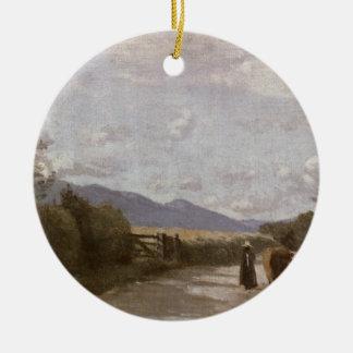 Dardagny、朝、c.1853 (キャンバスの油) 陶器製丸型オーナメント