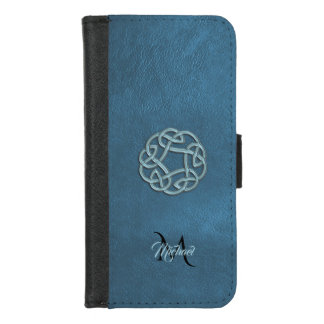 Dark Blue Leather Celtic Knot Monogram iPhone 8/7 ウォレットケース