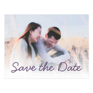 Dark Purple Wedding Photo Invitation Save the Date ポストカード
