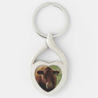 Dartmoor南にデボン牛見ること シルバーカラーツイストハートキーホルダー