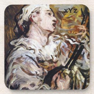 DaumierのPierrotのカスタムなモノグラムの芸術のコースター コースター