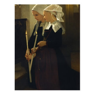 d'Auray SainteアンのウィリアムBouguereau-の祈りの言葉 ポストカード