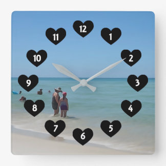 Day At The Beach With Heart Wall Clock スクエア壁時計