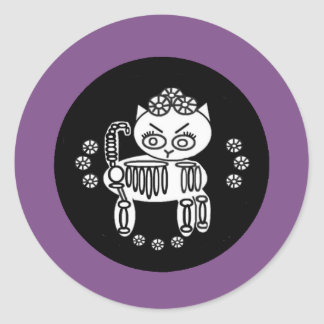 Day of the Dead-  Cat Skelly Sticker ラウンドシール
