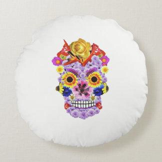 Day of the Dead- Flowers & Skull Pillow ラウンドクッション